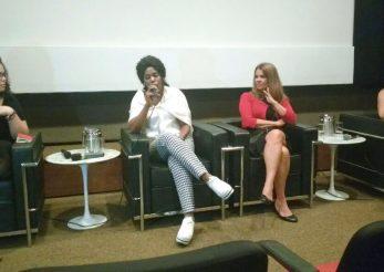 Na foto estão as participantes do debate, da esquerda à direita Viviane Balbuglio, Aissata Ousmane Bah, Bia Fioretti e Maíra Diniz falam sobre maternidade na prisão. Foto: Ana Luiza Voltolini Uwai | ITTC