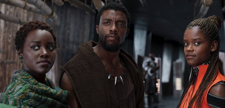 Na foto, três personagens do filme Pantera Negra. Foto: Divulgação.