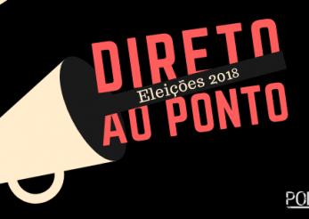 Capa do podcast 'Direto ao Ponto Eleições 2018', realizado pelo ITTC e Ponte Jornalismo. Na arte há um megafone amarelo e saindo dele o nome do podcast.