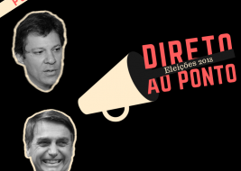 Capa do podcast 'Direto ao Ponto' sobre as eleições 2018. A imagem tem fundo preto e um megafone de onde sai o nome do podcast no lado esquerdo há a foto de Haddad e Bolsonaro em preto e branco.