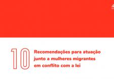 A imagem o título '10 recomendações para atuação junto a mulheres migrantes em conflito com a lei' na parte inferior e acima há um retângulo vermelho e o logo do ITTC no canto direito.