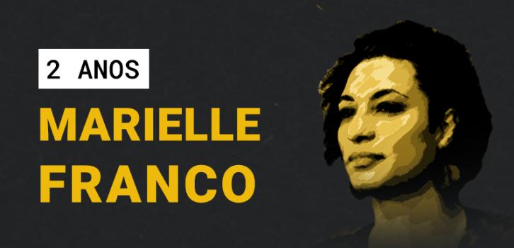 Na imagem há uma foto de Marielle Franco no lado direito e a frase 2 anos Marielle Franco no lado esquerdo.