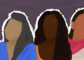 Ilustração de três mulheres negras latinas e caribenhas, sem o rosto em um fundo roxo de papel dobrado, em volta das mulheres há um contorno branco.